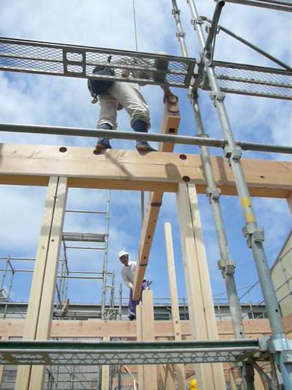 上棟梁の上のお大工さん